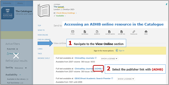 Catalogue screenshot showing the process to select the ADHB publisher link, from within an item's View Online section